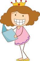 um doodle criança segurando um personagem de desenho animado de livro isolado vetor