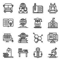 pacote de ícones lineares de educação vetor