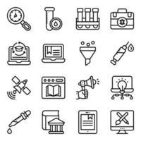 pacote de ícones lineares de educação online vetor