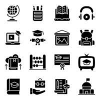 pacote de ícones sólidos de conhecimento vetor