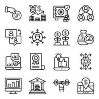 pacote de ícones lineares de negócios e finanças vetor