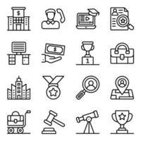 ícones lineares de finanças e comércio eletrônico vetor