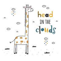 Cabeça no vetor de nuvens