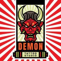 Logotipo japonês do estúdio da tatuagem da máscara do demónio vetor