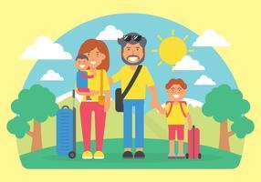 Ilustração em vetor de férias em família