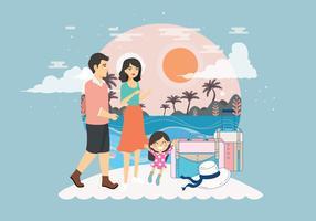 Férias em família para a praia vetor
