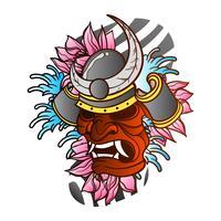 Tatuagem de guerreiro Samurai velho japonês tradicional com onda e flor ilustração em vetor de fundo