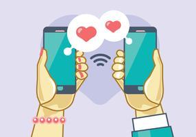 Namoro Online Homem e Mulher vetor