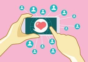 Mão segure smartphone com namoro bate-papo vetor
