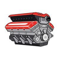 Motor de carro 3D no fundo branco vetor