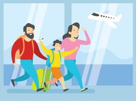 Família feliz andando no aeroporto vetor