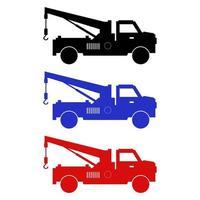 conjunto de caminhão de reboque em fundo branco vetor