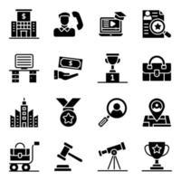 ícones sólidos de finanças e comércio eletrônico vetor