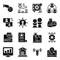 pacote de ícones sólidos de negócios e finanças vetor