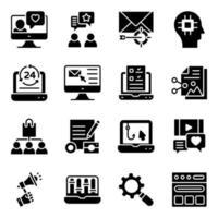 pacote de ícones sólidos de SEO e mídia