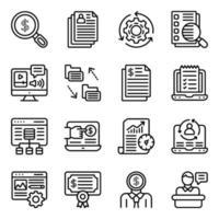 pacote de ícones lineares de e-business