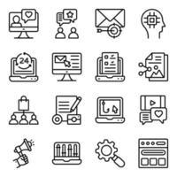 pacote de ícones lineares de seo e mídia