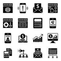 pacote de ícones sólidos de SEO e web vetor