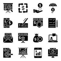 infográfico financeiro pacote de ícones sólidos vetor