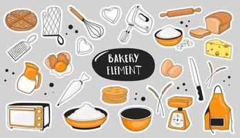elemento de padaria colorido desenhado à mão vetor