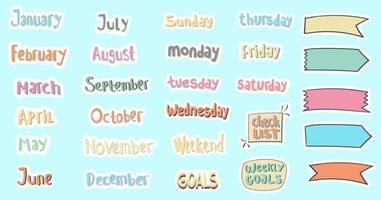 planejador de adesivos diários e mensais desenhados à mão vetor