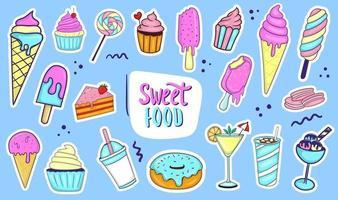 coleção de comida doce colorida desenhada à mão