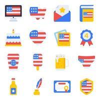 pacote de ícones planos do dia da independência vetor