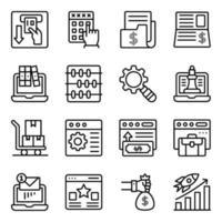 ícones lineares de negócios e análises online vetor
