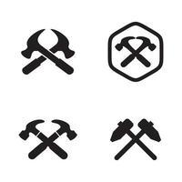 modelo de design de logotipo de martelo cruzado vetor
