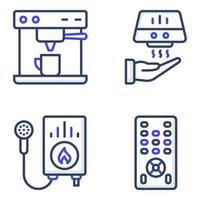 pacote de ícones planos de eletrodomésticos vetor