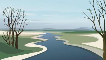 rio indo além do horizonte. vetor