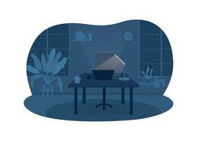 escritório freelancer à noite 2d vetor web banner, pôster