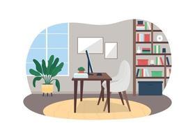 banner da web do vetor 2d do local de trabalho em casa, cartaz