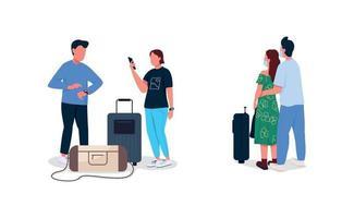 conjunto de caracteres sem rosto de vetor de cor plana de passageiros de avião