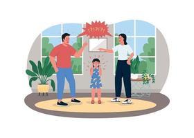 pais lutando com banner da web de vetor 2d, pôster