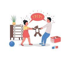 crianças brigando com personagens detalhados de vetor de cor lisa
