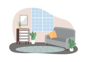 moderno home lounge área 2d vetor web banner, pôster