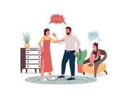 pais discutindo e crianças chateadas com personagens detalhados de vetor de cores planas