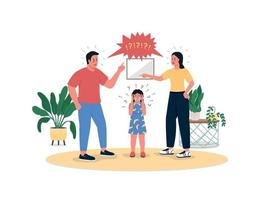 pais lutando e filha chorando personagens de vetor de cor lisa