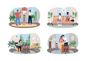 pais e filhos entram em conflito com o banner da web de vetor 2d, conjunto de cartaz