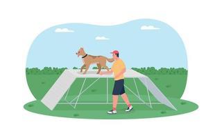 treinamento de cães em pista de obstáculos 2d vetor web banner, pôster
