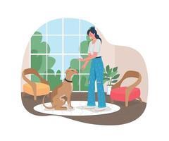 mulher treinando cachorro para sentar-se vetor banner 2d web, pôster
