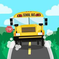 Escola bus cena na estrada e fundo de natureza vetor