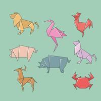 Conjunto de animais selvagens de origami vetor