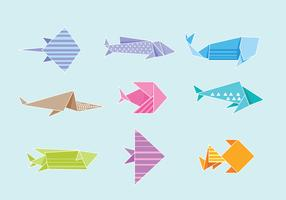 Conjunto de Origami de peixe vetor
