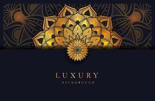 fundo luxuoso com ornamento de mandala de arabescos islâmicos dourados em superfície escura vetor