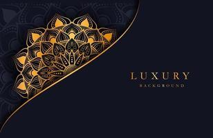 fundo luxuoso com ornamento de arabescos islâmicos dourados na superfície escura vetor