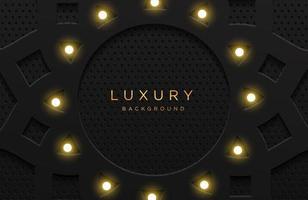 fundo elegante luxuoso com lâmpada isolada no preto. fundo de neomorfismo realista abstrato. modelo elegante vetor