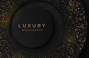 fundo elegante de luxo com padrão pontilhado de ouro brilhante isolado no preto. fundo de neomorfismo realista abstrato. modelo elegante vetor