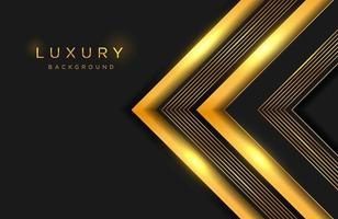 fundo elegante luxuoso com forma de ouro em camadas e composição de linha. modelo de capa elegante vetor